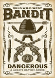 Bandit occidental sauvage Poster de vintage illustration libre de droits