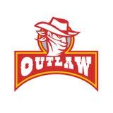 Bandit With Outlaw Text Retro- Lizenzfreie Stockfotos