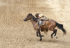 Bandit riding his horse. At full gallop at Mini Hollywood, Almeria, Andalusia Spain royalty free stock images