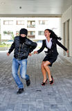 Bandit stealing woman bag Stock Photo