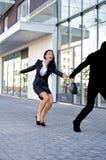 Bandit stealing woman bag Stock Images