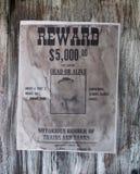 banditen banks önskad tappning för faramanrånaren Arkivfoto