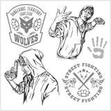 Banditer och huligan - brottsligt uteliv royaltyfri illustrationer