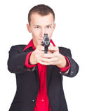 Bandito pronto a sparare Fotografia Stock Libera da Diritti