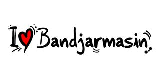 Bandjarmasin love message. Creative design of love city message Royalty Free Stock Photo