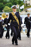 Bandmaster of military band in Stockholm Stock Photography