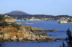 Bandol bay, Faron mount, Bendor island, France. Bandol bay, Faron mount, Bendor island, landscape on french riviera, France Royalty Free Stock Images