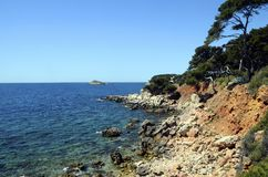 Bandol mediterranean coast. Sea and rocks, landscape in french riviera, france Royalty Free Stock Images