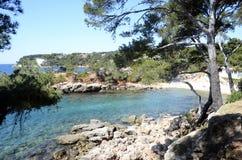 Bandol mediterranean coast. Sea and rocks, landscape in french riviera, france Stock Photos