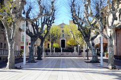 Bandol village square, south france. Bandol village paved square and church, french riviera, france Royalty Free Stock Photography