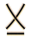 Bandolier with bullets. Ammunition belt. Tape cartridges Stock Photos
