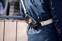 Bandolier of italian policeman Stock Photo