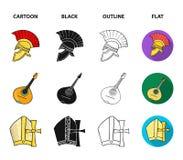 Bandolim, papá, azeitona, automóvel retro Ícones ajustados da coleção do país de Itália nos desenhos animados, preto, esboço, sím Fotografia de Stock