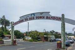 Bandon,俄勒冈的可喜的迹象 免版税库存照片