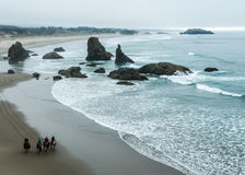 Bandon Beach and Horses Stock Images