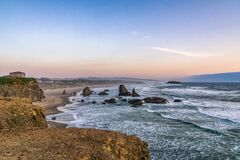 Free Bandon Beach Landscape At Dusk From Face Rock State Scenic Viewpoint, Pacific Coast, Oregon, USA Royalty Free Stock Image - 176159546