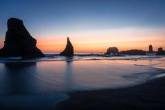 Bandon, Oregon Sea Stacks at Dusk. Bandon, Oregon, Sea Stacks, Rocky Coastline Stock Images