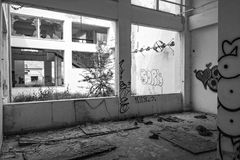 Abandoned vandalized office building. Αbandoned, vandalized office building interior. Broken glass at the foreground Stock Photography
