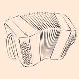 Bandoneon. Sketched bandoneon concertina. Harmonic colors. Background can be easily removed. Design template for label, banner, postcard. Vector Royalty Free Stock Photos