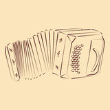 Bandoneon. Sketched bandoneon concertina. Harmonic colors. Background can be easily removed. Design template for label, banner, postcard. Vector Royalty Free Stock Photo