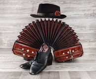 Bandoneon, tango dance shoes and male hat. Bandoneon, pair of tango shoes and a black hat on wooden background Royalty Free Stock Images