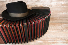 Bandoneon, tango instrument, and a hat Royalty Free Stock Photos