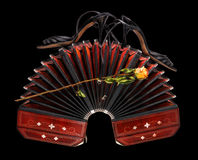 Bandoneon, tango shoes and rose isolated on black Stock Photography