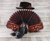 Bandoneon, tangodansskor och manlig hatt Royaltyfria Bilder