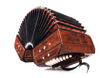 Bandoneon, three quarters view on white background Stock Photos