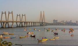 Bandra Worli Sea Link. MUMBAI, INDIA - MARCH 12, 2017 : Bandra Worli Sea link is a major sea link that connects the Mumbai City, India Royalty Free Stock Photo