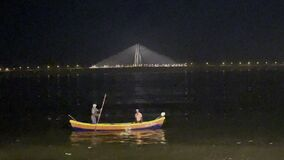 Bandra Worli Sea Link, Mumbai Night scene fishermen boat- Video