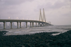 Bandra-Worli Sea Link-Twelve. A Enchanting, Beautiful Night View of Bandra-Worli Sea Link from Bandra Fort Royalty Free Stock Photo