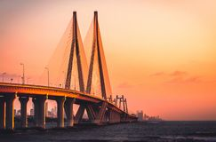 Bandra Worli Sealink at Sunset Stock Photos