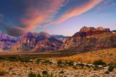Bands of Colored Mountains in Red Rock Canyon. Landscape of Hills in Red Rock Canyon with bands of colors in hills Royalty Free Stock Photography
