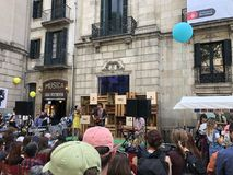 Bands playing in front of Palau de la Virreina royalty free stock photography