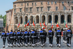Bands of sailors troops participating at military parade of Ital Stock Image
