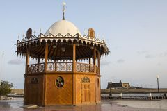 Bandstand and Castle in Arrecife. A bandstand along the promenade in the historic city of Arrecife on the island of Lanzarote in Spain.  Castillo de San Gabriel Royalty Free Stock Photography