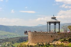Bandstand in beautiful Ronda city, with an amazing viewpoint over landscape. stock photos