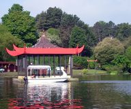 Bandstand on boating lake Stock Photo