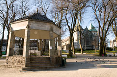 Bandstand and Church in Central Stavangar Royalty Free Stock Photos
