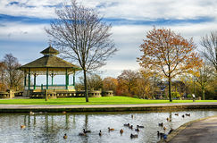Bandstand and duck pond in Greenhead park Royalty Free Stock Images
