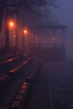 Bandstand in the Fog. Deserted bandstand at night surrounded by fog by the river Dee in Chester UK Royalty Free Stock Photography