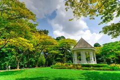 Beautiful Bandstand at Singapore Botanic Gardens. The Bandstand or Gazebo at the Botanic Gardens, an UNESCO World Heritage Site of Singapore. It has more than stock photography