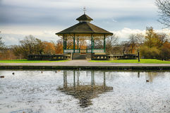 Bandstand and pond in Huddersfield, England Stock Images