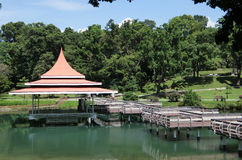 Bandstand and Zig-zag Bridge at MacRitchie Reservoir Royalty Free Stock Images