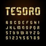 Bandstilsort Vektoralfabet med guld- effektbokstäver och nummer vektor illustrationer