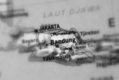 Bandung, a city in Indonesia. Bandung a city in the Republic of Indonesia selective black and white focus stock image