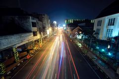 BANDUNG, INDONESIA – JUNE 24: Bandung at night Royalty Free Stock Images