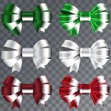 Banduppsättning för julgåvor Den röda gåvan bugar med bandvektorillustrationen Arkivbild