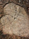 Bandurist, bandura player. Ukrainian national hero - kobzar carved in stone Stock Photos